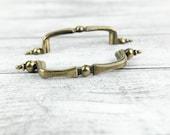 Vintage Brass Curved Drawer, Cabinet Door handle w/ ornate flush mount ends (set of 2)