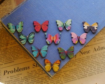 10 pcs Wood Butterfly Painted Mixed Assorted Patterns Retro Pendants No Hole 28mm (BT2228)