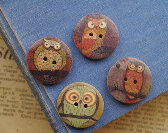 "8pcs Painted Owl Wood Buttons 30mm 1 1/8"" (WB2420)"