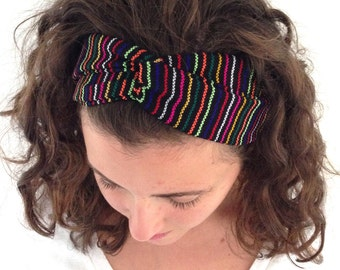 Black and Multicolor Mexican Tribal Turban Headband