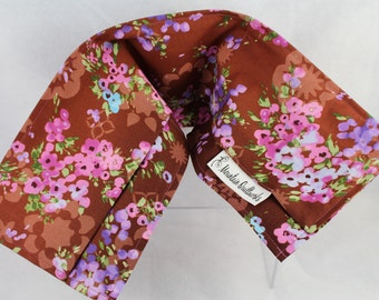 Washable Microwave Heating Pad - Brown Floral - Heating Pad - Rice or Flax