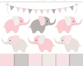 Pink and Gray Baby Elephants 13 Piece Digital Clipart and Background Set - Commercial Use, Baby Girl Shower, Pink Digital Papers
