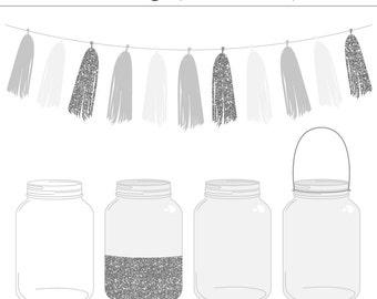 High Quality Mason Jars and Tassel Clip Art Set - Glitter, Silver, Wedding Invitation, Ball Jar, Vintage, Commercial Use, Instant Download