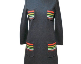 vintage 1960s mod wool dress / Dorothy Lord Boston / gray neon stripes / 60s dress / a-line / mad men / women's vintage dress / size medium