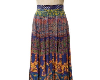 vintage 1970s hand printed circle skirt / 1950s style skirt / F.A. Chatta / ethnic Indian novelty print / women's vintage skirt / size 8