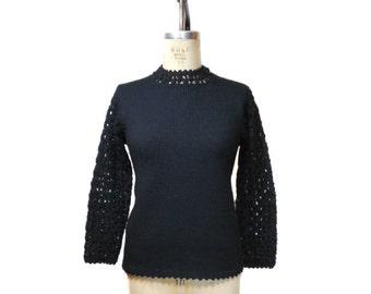 vintage 1960s cage sleeve sweater / black / wool / mod / 60s sweater / women's vintage sweater / size large