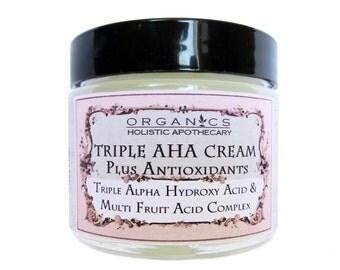 AHA Face Cream ORGANIC Natural Triple Alpha Hydroxy Acid & Multi - Fruit Acids Complex Face Cream Plus Antioxidants Refines Complexion