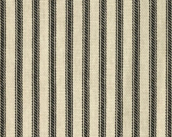 Black Ticking Pillow Cover, 18x18 or 20x20 inch Decorative Throw Cushion Covers - Black Ivory Ticking Stripe
