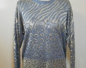 vintage 1980s metallic animal print sweater / size medium