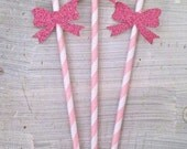 Glitter Bow Party Straws -- Bridal Shower / Baby Shower Decorations /  Drink Stirrers / Decorative Straws