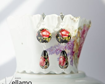 Carmen style black dangle earrings with sterling silver and shiny beads, beautiful red roses, flower fashion earrings, round and teardrop