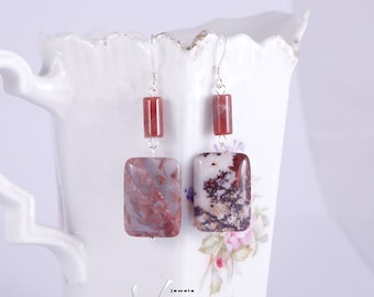 Red white and brown earrings with beautiful Indian agate stones, rectangular and tube shape, sterling silver wire and hooks