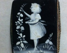 Vintage Brooch Mary Gregory Glass Victorian Edwardian Child Picking Flowers Hollyhocks Mourning 1800s