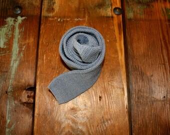 Grey Wool Knit Square End Tie Mens Vintage