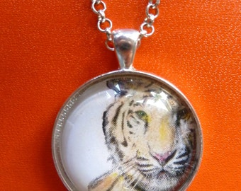 Tiger-Necklace-Pendant-Bengal Tiger-Orange and Black Tiger-Jungle Jewelry-Wild Cat-30mm Bezel Tray-Glass Cabochon-Silver-Rolo Chain