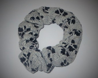 Gray & Black Scrunchies, Up-Cycled Material Hair Accessories, Hair Twisters, Large Scunchies