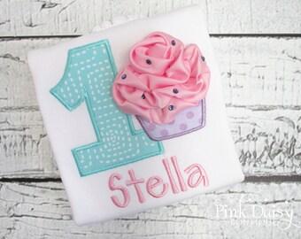 Birthday Shirt. Pink, Aqua, Lavender 3D Cupcake Personalized Embroidered Birthday Shirt/Bodysuit. First Birthday.