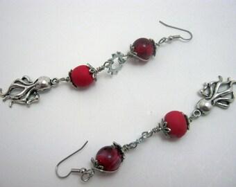 Kraken Steampunk Wire Red Earrings