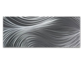 Contemporary Wall Art 'Passing Currents Composition' - 48x19 in. - Modern Decor - HD Metal Art Photo Print - Abstract Metal Artwork