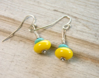 CLEARANCE Yellow Chinese Porcelain, Reconstructed Turquoise, Earrings