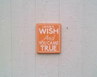 I Made A Wish Sign Hand Painted Canvas Baby Room Decor