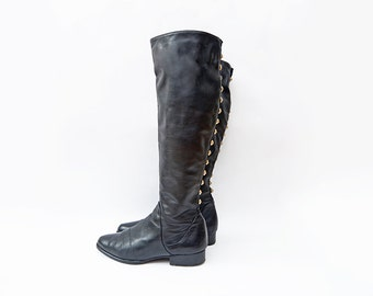 Vintage black leather italian riding high top women boots with golden details