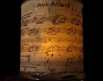 Ave Maria (Bach/Gounod) sheet music Candle holder/ luminary with mango leaf paper. Medium size.
