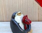 Penguin, Stoneware Clay Penguin, Penguin Gifts, Handmade Penguin, Hobby Horse