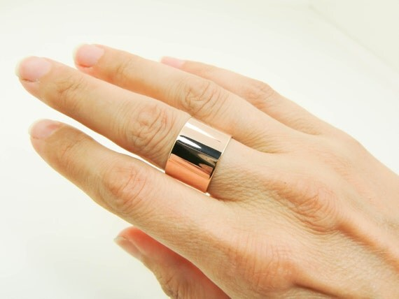 14K Breite Rotgold Ring Pure 14 Karat Rotgold Breitband