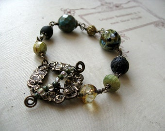 Bohemian Mixed Media Bracelet 'The Pond and The Frog', Nature Inspired Earthy Jewelry, Cerulean Blue, Green, Black, For Her