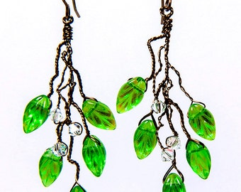 GreenTwig Earrings,  Green Leaf Earrings, Green Dangle Earrings, Green Branch Earrings, Winter Jewelry, Christmas Gift for Her, CyberMonday