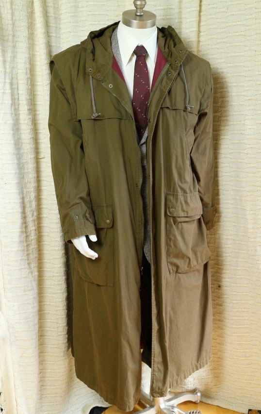 Long Mens Duster Coat Military Green Hooded Coat Ranch Trench