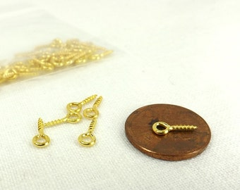 Screw Eye Miniature 200 pieces Gold Color Jewelry Supply very tiny bail findings