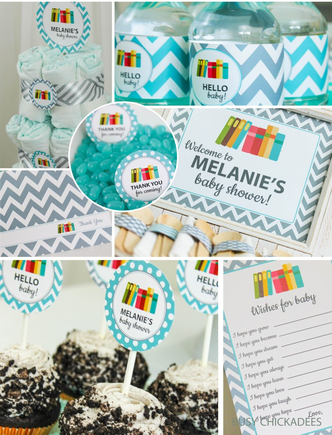 books baby shower decorations teal gray chevron by coralballoon