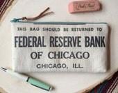Handmade Vintage Bank Bag Zipper Pouch