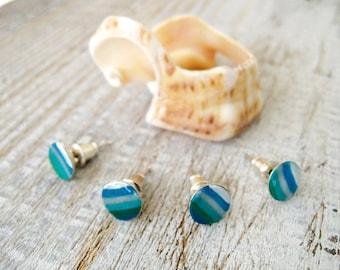 8 mm Tiny Stud Beach Jewelry - Striped posts Marine stud - Beach Jewelry - White and Blue studs Summer Marine Style