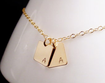 Gold Squares Initial Necklace, Inital Tags Necklace, Little Initial Tags, Mommy Jewelry, Mothers Necklace