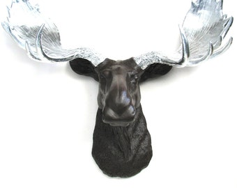 DARK CHOCOLATE -Silver Faux Taxidermy Moose Head in dark chocolate brown with silver antlers:  Max the Moose Modern Kids Room Cabin Lodge