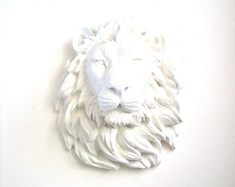 Faux Taxidermy Large Lion Head wall mount hanging in crisp white:  Leonard the Lion home decor nursery kids room room office decor