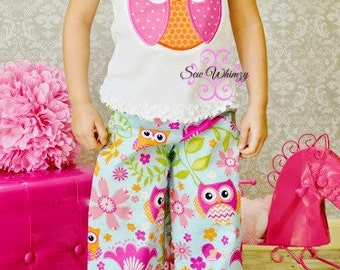 Owl outfit, Girl owl shirt and ruffle pants- Girl owl