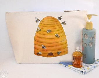 Bee Hive Canvas Wash Bag, Large Zipper Pouch, Makeup Bag, Toiletry Bag, Accessory Bag