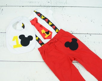 THREE PIECE SET: Mickey Mouse Inspired Birthday Tie Suspender Bodysuit with Pants/Shorts and Bib, Baby Boy First Birthday Little Man Outfit