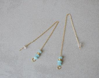Gemstone earrings, Gold threader earrings, Delicate earrings, Long chain earrings, Light blue, Dainty earrings, Everyday earrings