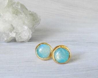 Moonstone stud earrings - Aqua moonstone - Gold dipped - Rainbow - Blue
