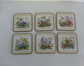 Set of Six Vintage Pimpernel Coasters -- Meadow Flowers, Like New in Original Box