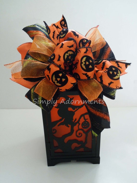 Black Orange Jack-o'-Lantern Bow Black Orange Halloween Wreath Bow Swag Bow Creepy Halloween Party Decoration Pumpkin Door hanger Bow