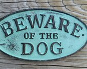 Cast Iron Beware of the Dog Plaque