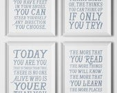 Gift Idea - Poster Set of 4 - Typography Art Print Poster - Dr. Seuss Quote - Inspirational Quote - Home Decor, Children Room Decor