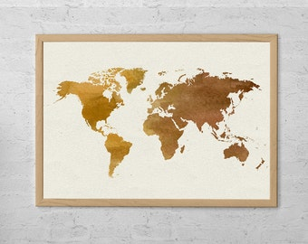 World Map Poster Art Print, Room Decor, Wall Hanging, Travel World Map, Art - Large - Medium