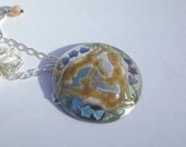 Hare pendant, Three hares and harebells enamel necklace